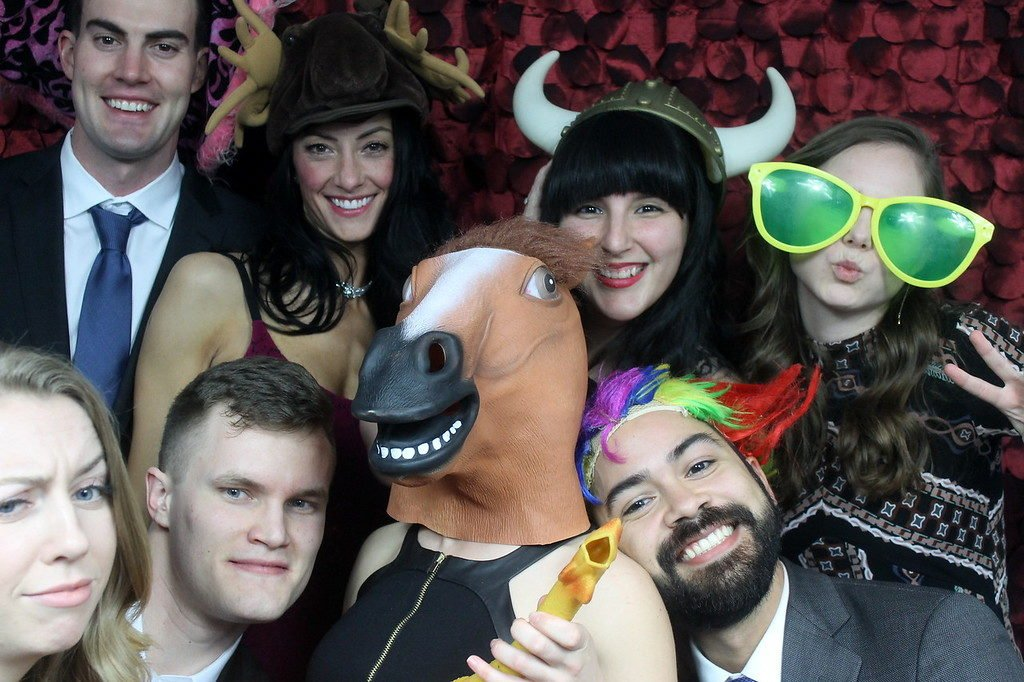 photo booth picture with props