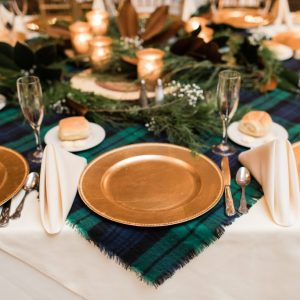 Blue, Green and Gold Table Setting