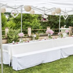 flowers settings decoration outdoor setup for a wedding with pink colored flower