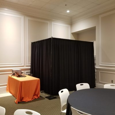 enclosed photo booth setup